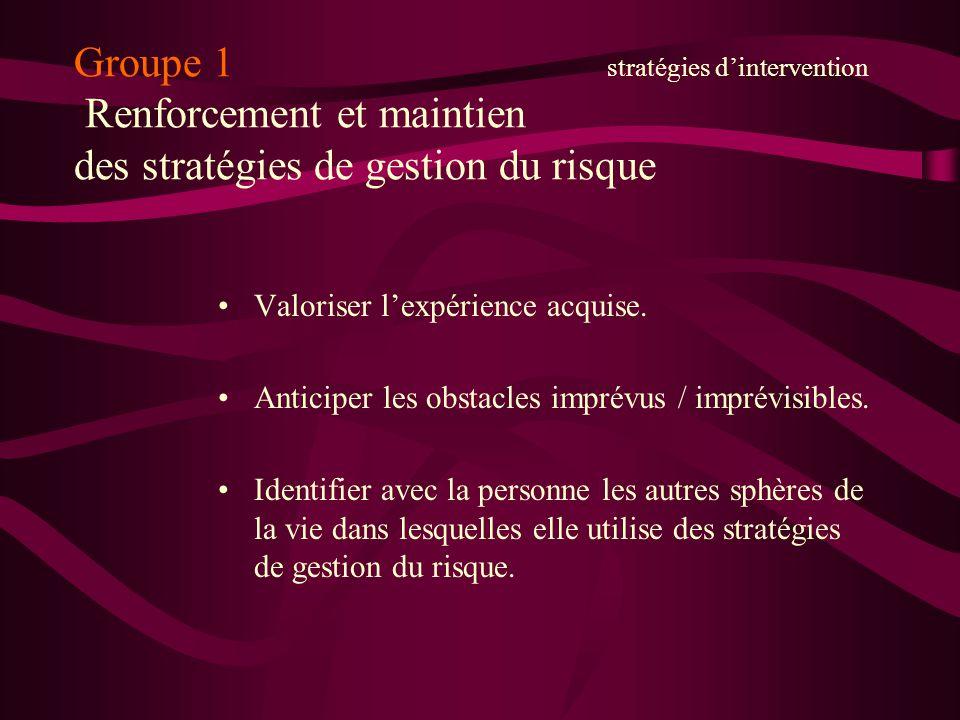 Groupe 1 stratégies d'intervention Renforcement et maintien des stratégies de gestion du risque