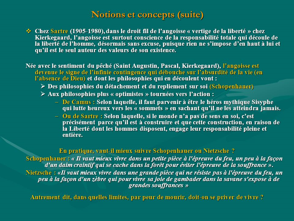 Notions et concepts (suite)