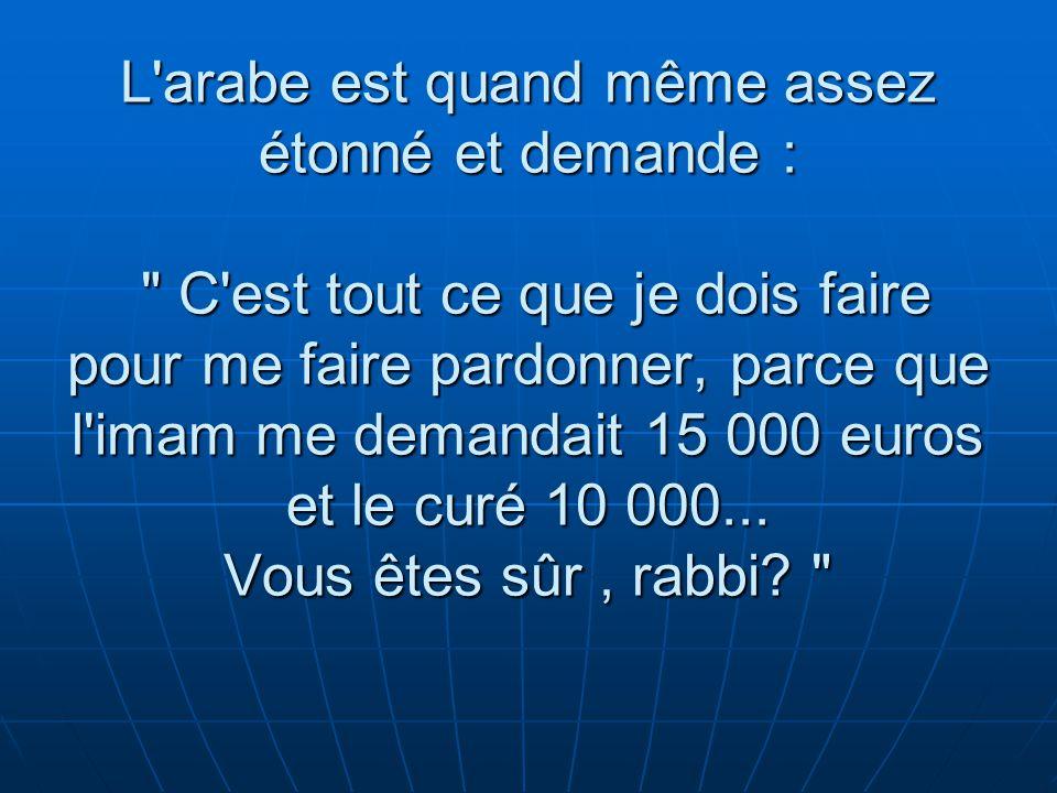 L arabe est quand même assez étonné et demande : C est tout ce que je dois faire pour me faire pardonner, parce que l imam me demandait 15 000 euros et le curé 10 000...