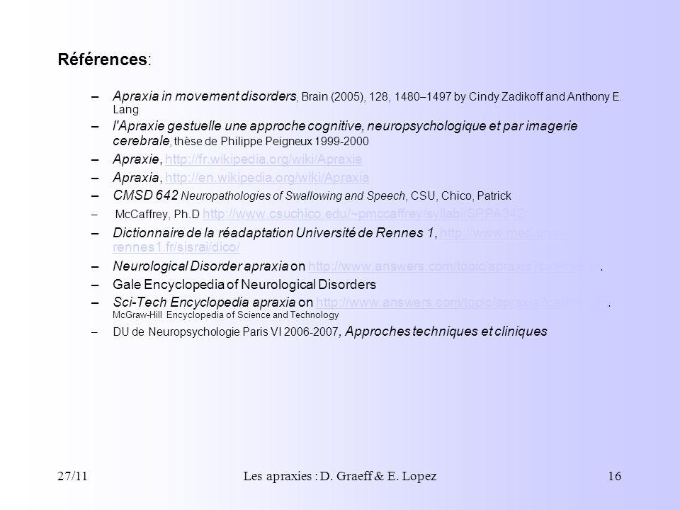 Les apraxies : D. Graeff & E. Lopez