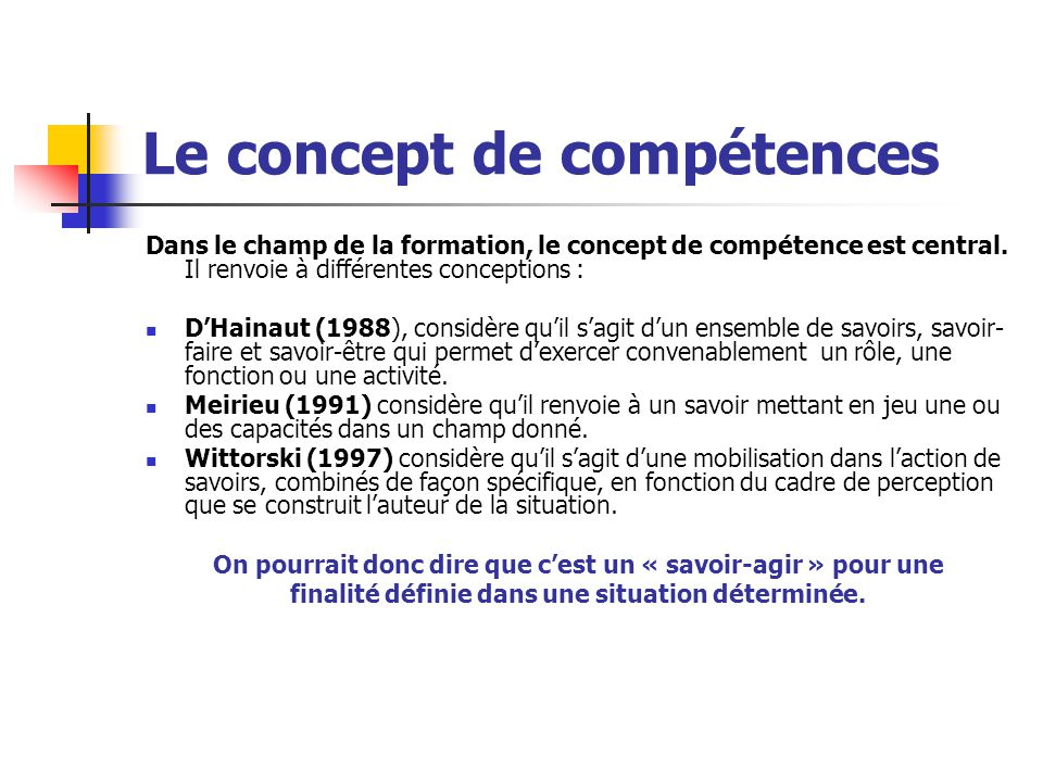 Le concept de compétences