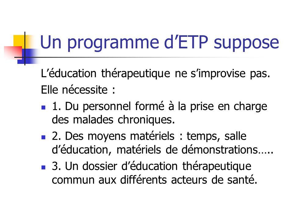 Un programme d'ETP suppose