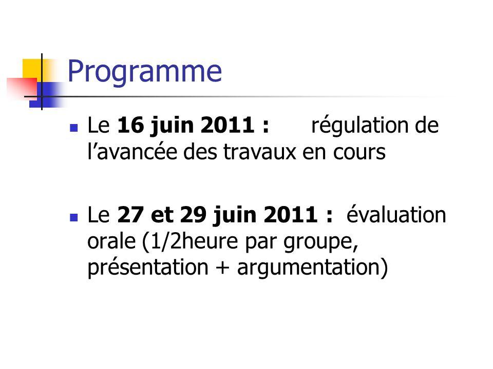Programme Le 16 juin 2011 : régulation de l'avancée des travaux en cours