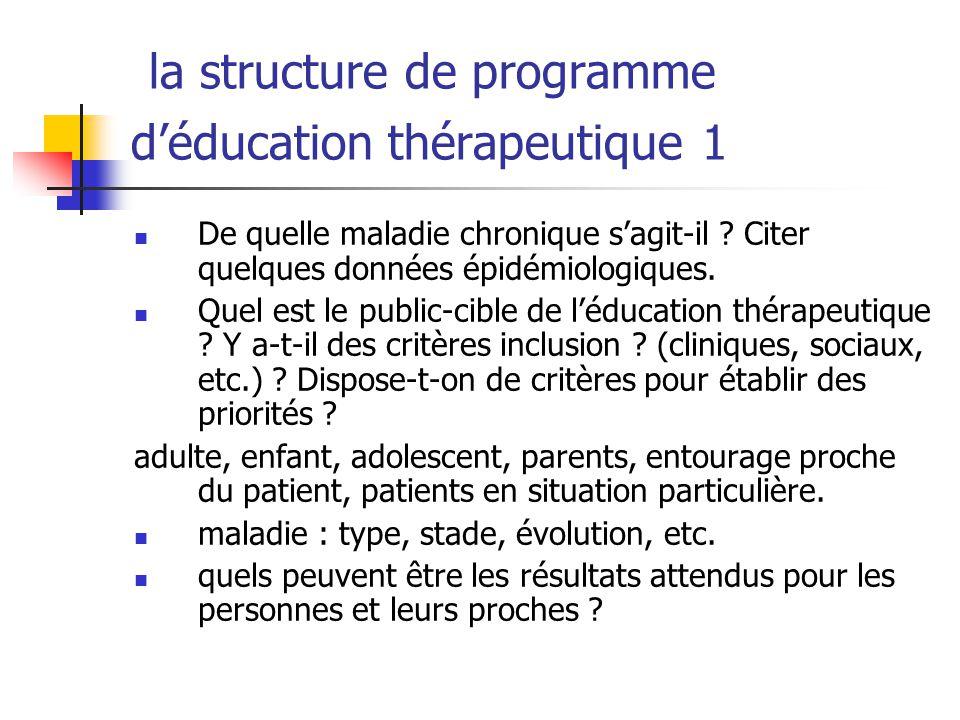 la structure de programme d'éducation thérapeutique 1