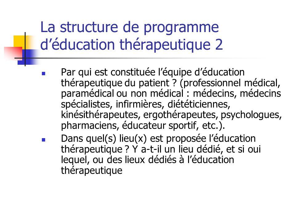 La structure de programme d'éducation thérapeutique 2