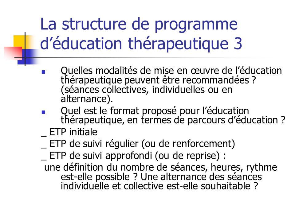 La structure de programme d'éducation thérapeutique 3