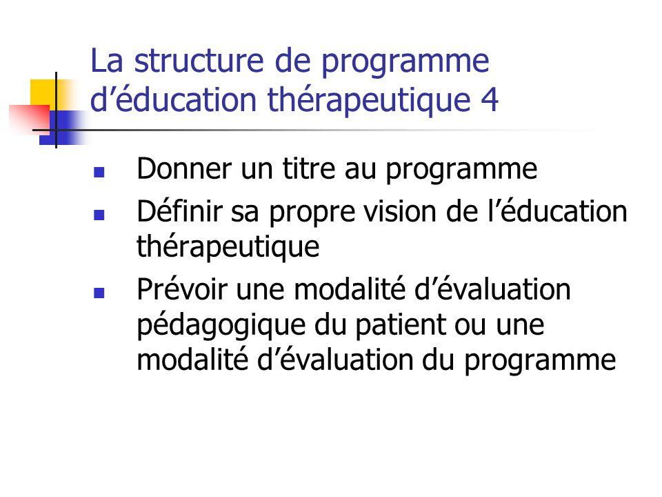 La structure de programme d'éducation thérapeutique 4