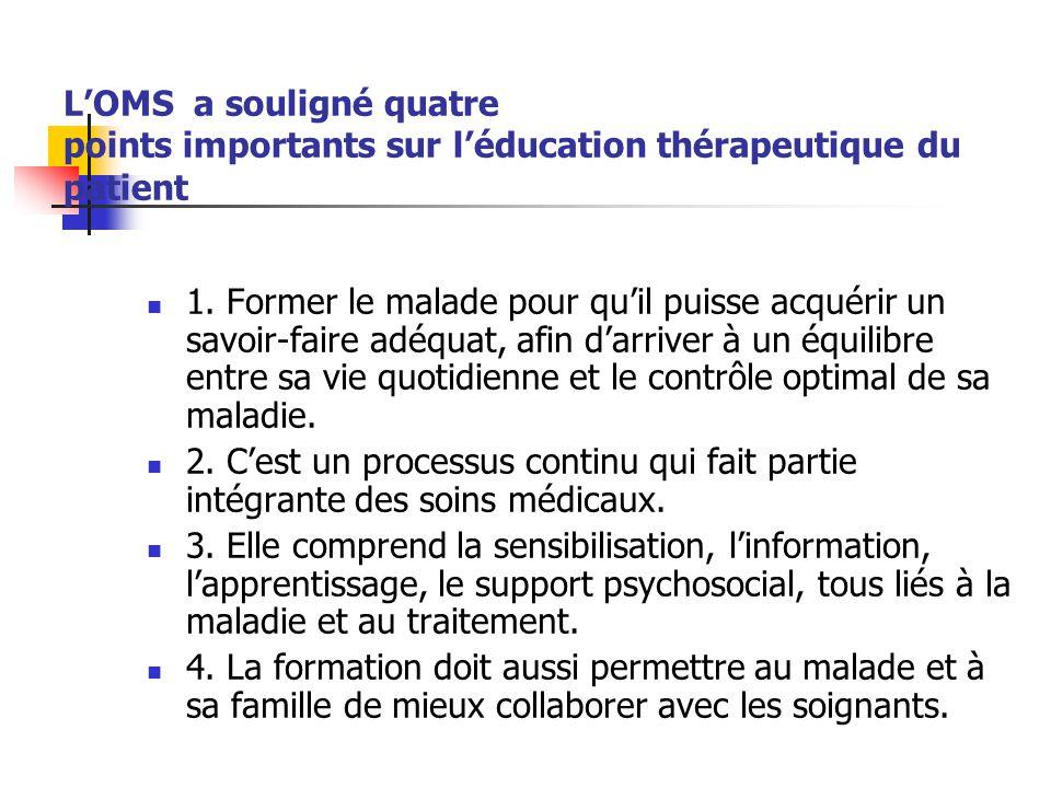 L'OMS a souligné quatre points importants sur l'éducation thérapeutique du patient