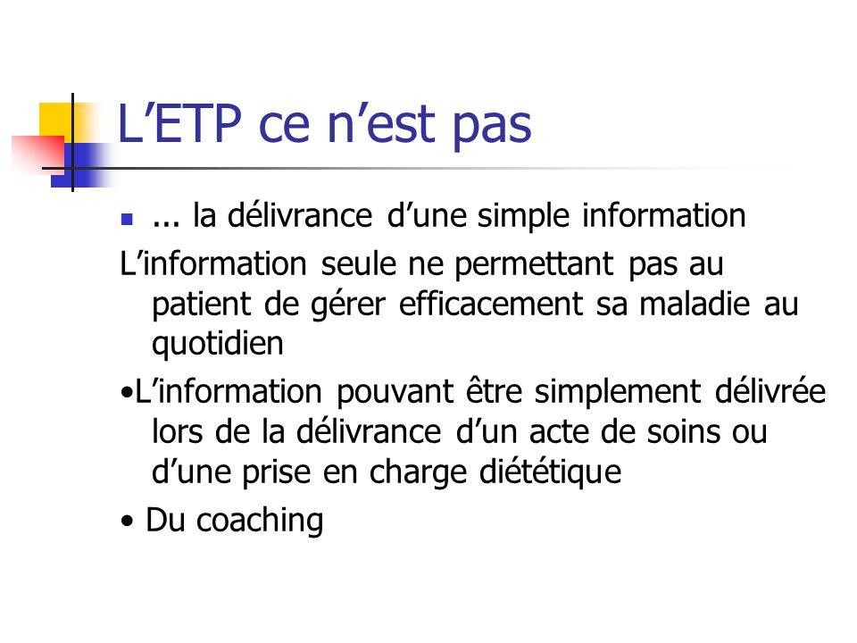 L'ETP ce n'est pas ... la délivrance d'une simple information