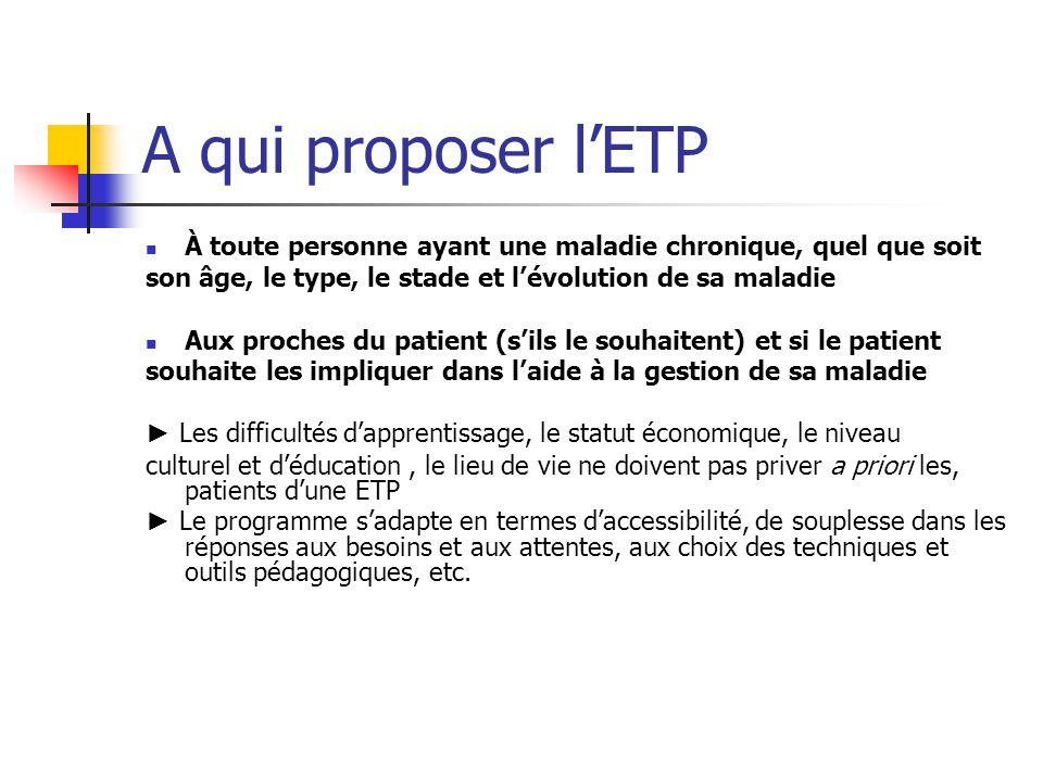 A qui proposer l'ETP À toute personne ayant une maladie chronique, quel que soit. son âge, le type, le stade et l'évolution de sa maladie.