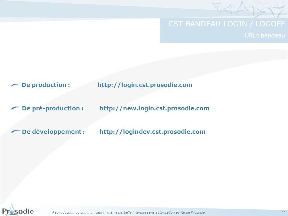 CST BANDEAU LOGIN / LOGOFF URLs bandeau