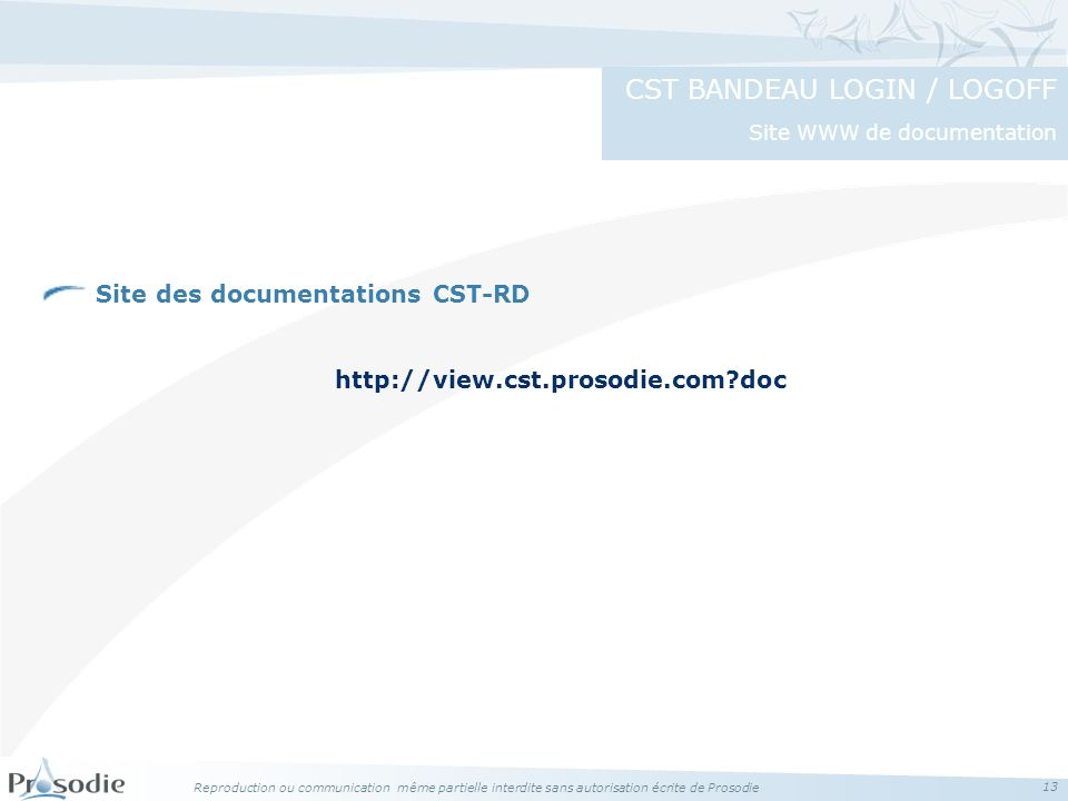 CST BANDEAU LOGIN / LOGOFF Site WWW de documentation