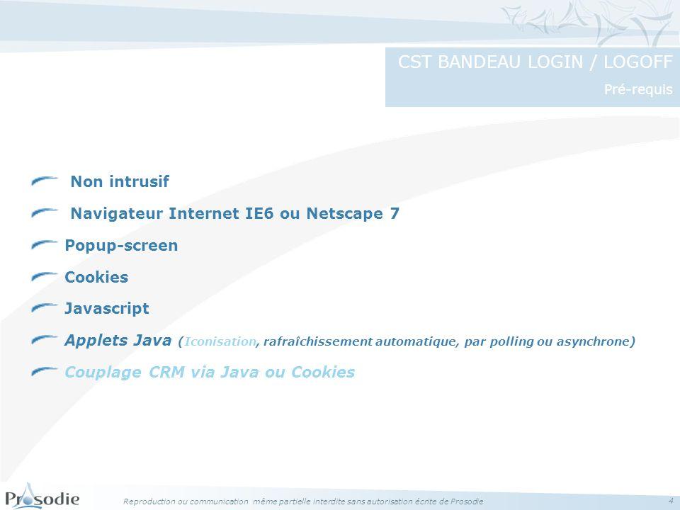 CST BANDEAU LOGIN / LOGOFF Pré-requis