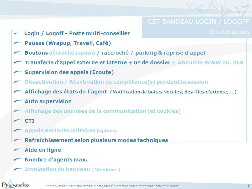 CST BANDEAU LOGIN / LOGOFF Caractéristiques