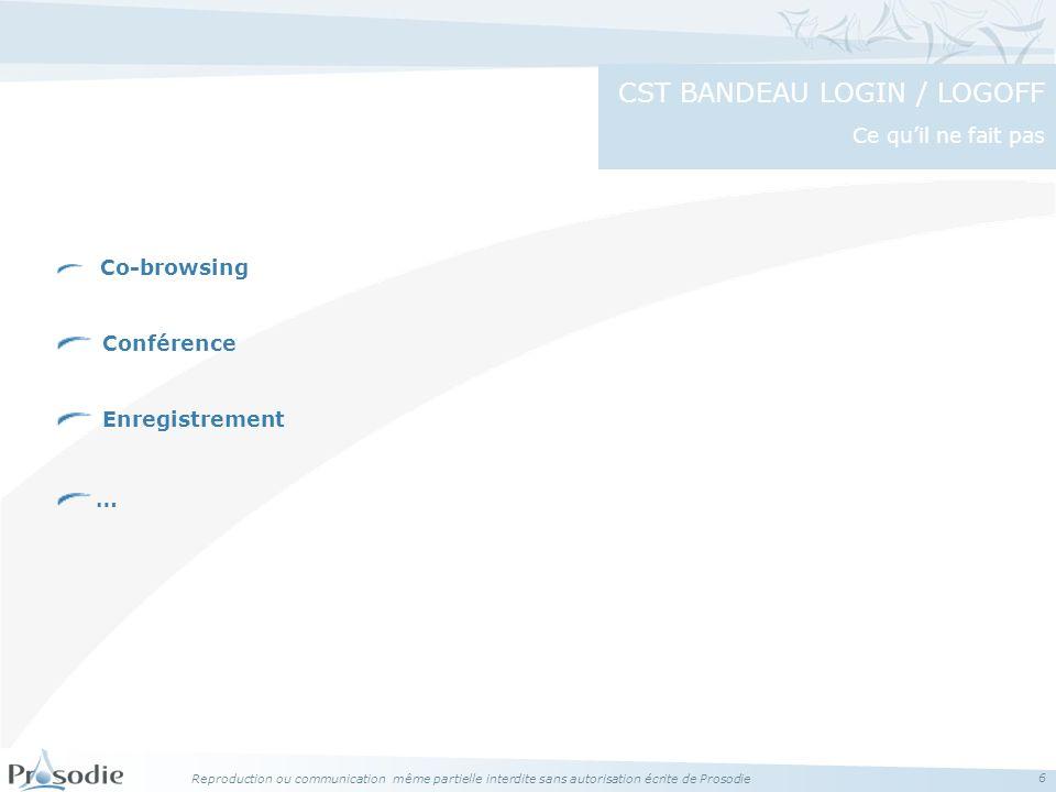 CST BANDEAU LOGIN / LOGOFF Ce qu'il ne fait pas
