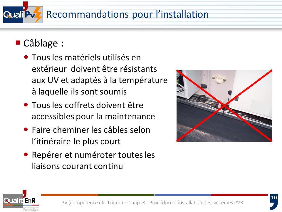 Recommandations pour l'installation