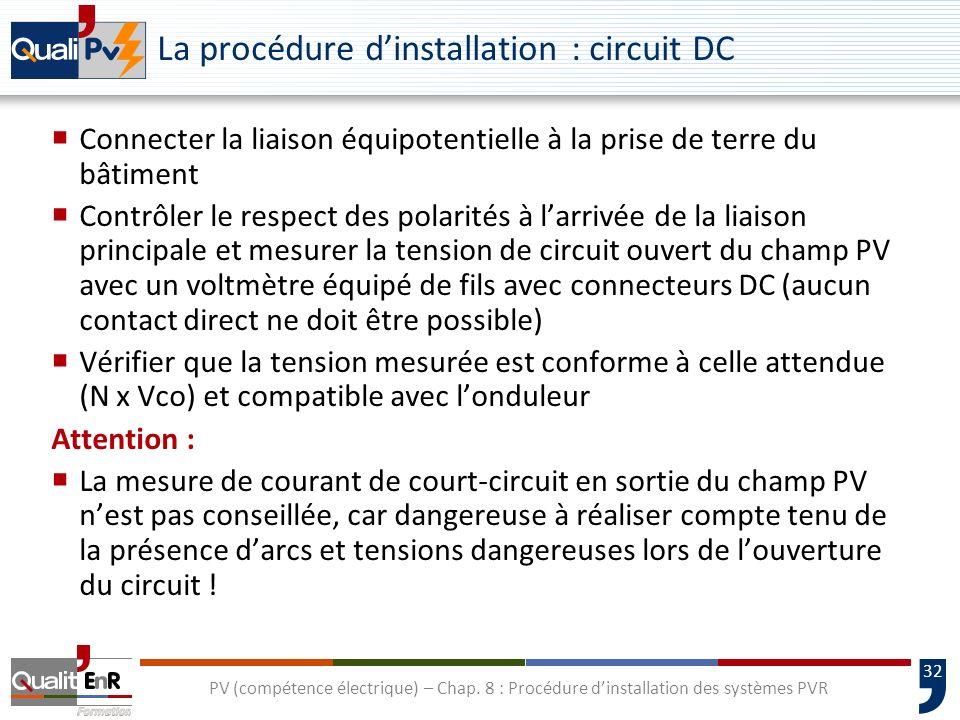 La procédure d'installation : circuit DC