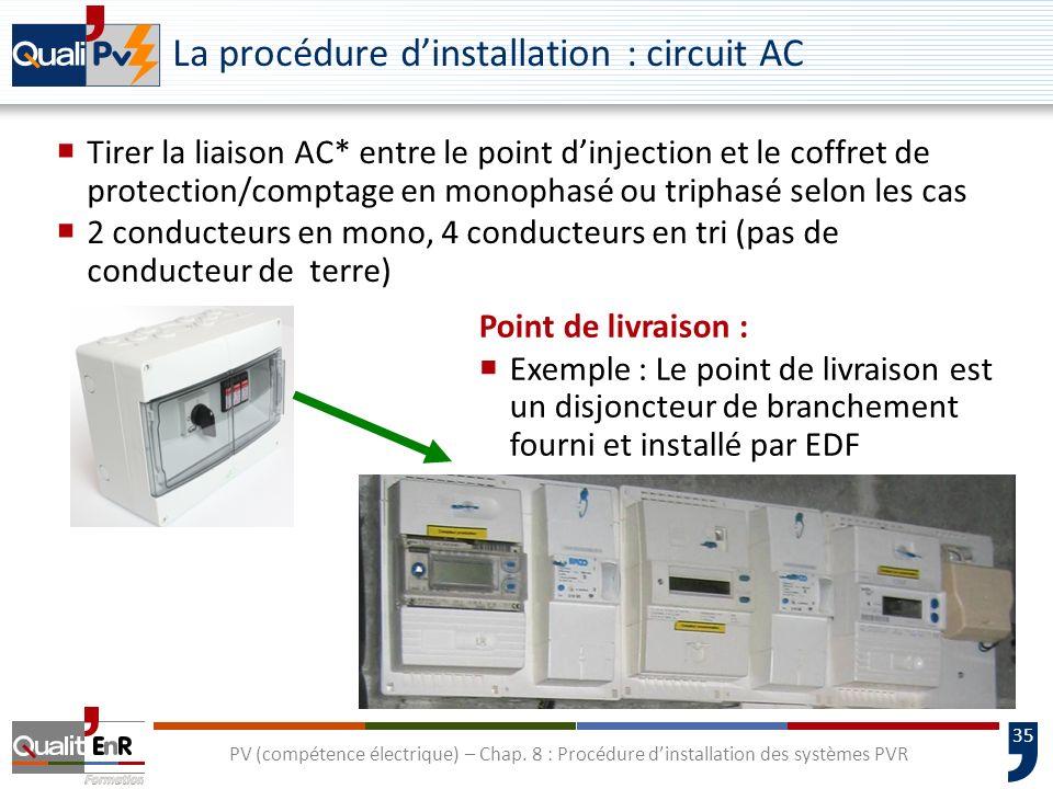 La procédure d'installation : circuit AC