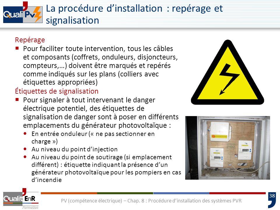 La procédure d'installation : repérage et signalisation