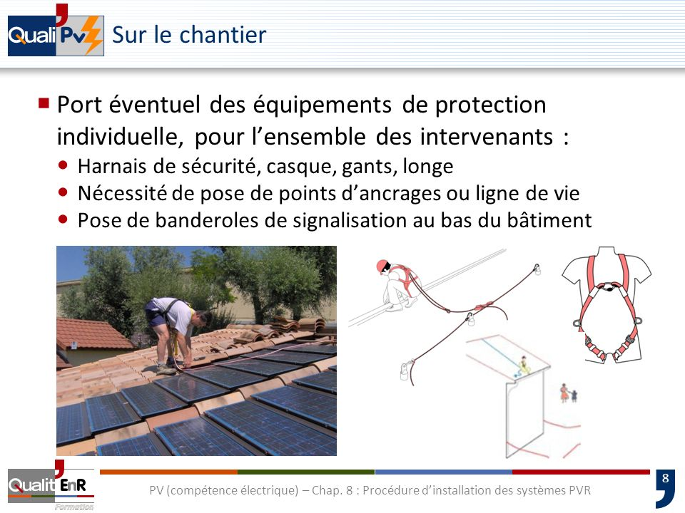 Sur le chantierPort éventuel des équipements de protection individuelle, pour l'ensemble des intervenants :