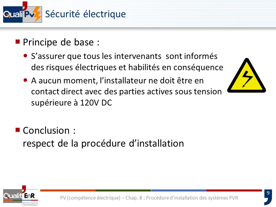Conclusion : respect de la procédure d'installation