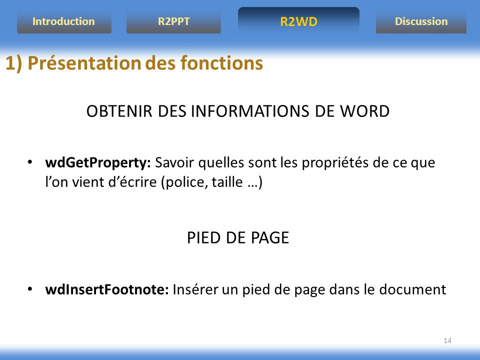 OBTENIR DES INFORMATIONS DE WORD