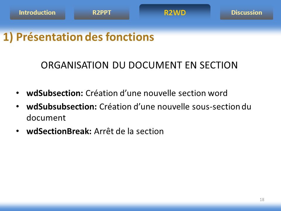ORGANISATION DU DOCUMENT EN SECTION