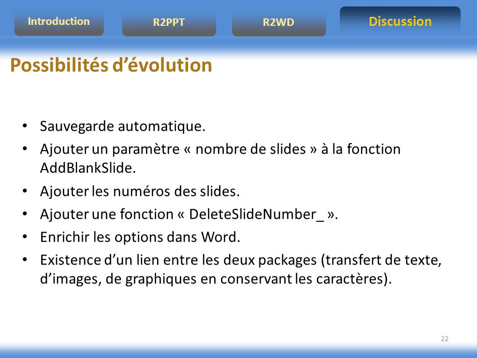 Possibilités d'évolution