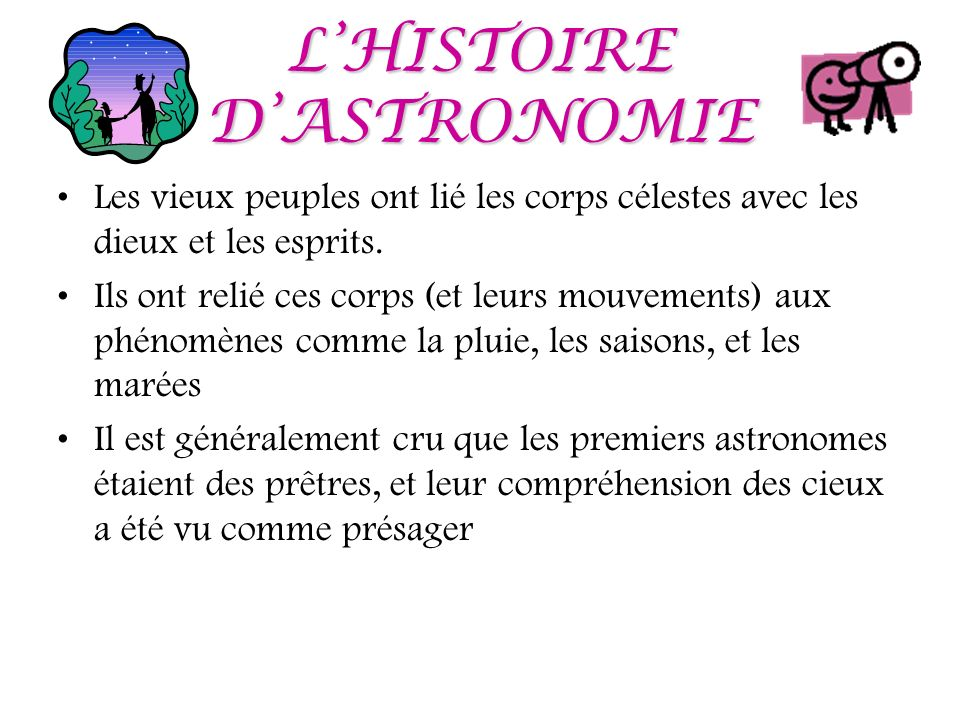L'HISTOIRE D'ASTRONOMIE