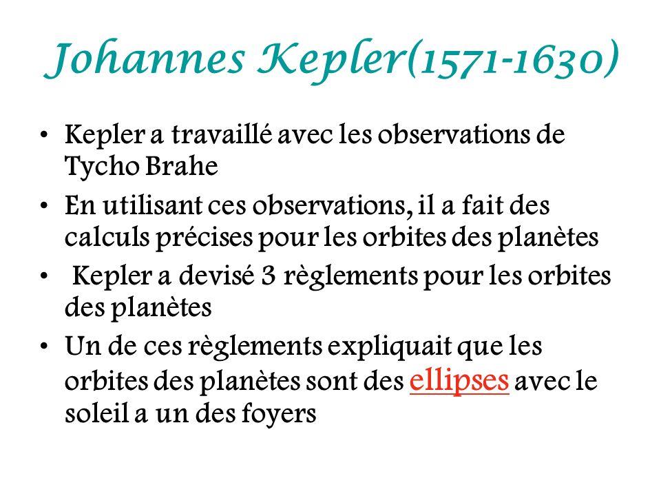 Johannes Kepler(1571-1630) Kepler a travaillé avec les observations de Tycho Brahe.