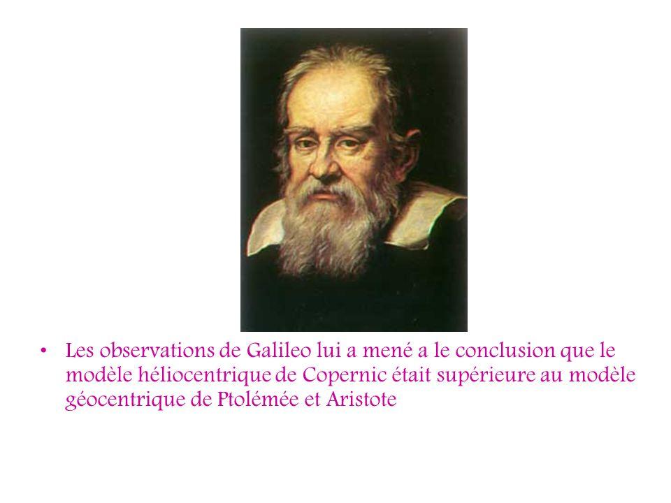 Les observations de Galileo lui a mené a le conclusion que le modèle héliocentrique de Copernic était supérieure au modèle géocentrique de Ptolémée et Aristote