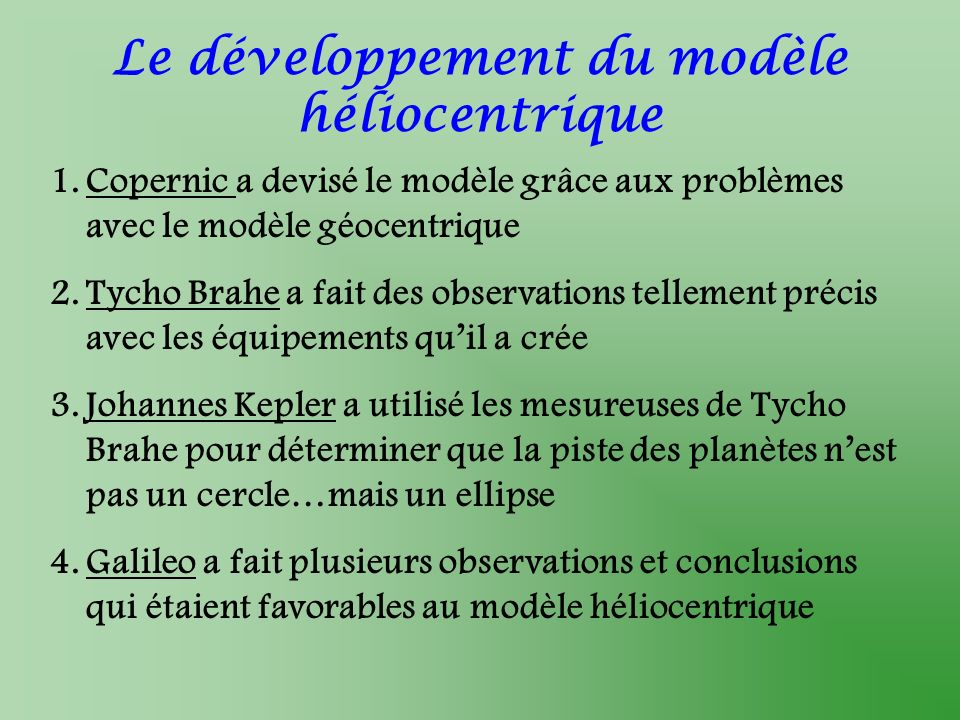 Le développement du modèle héliocentrique