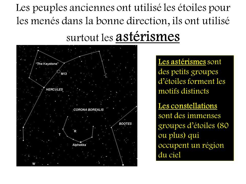 Les peuples anciennes ont utilisé les étoiles pour les menés dans la bonne direction, ils ont utilisé surtout les astérismes