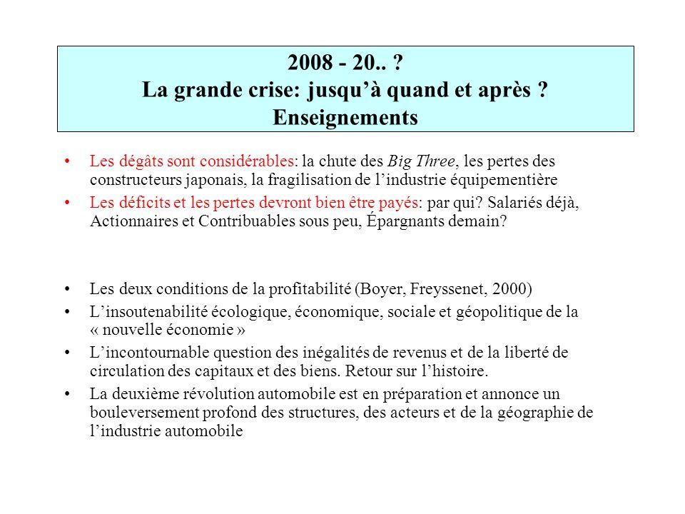 2008 - 20.. La grande crise: jusqu'à quand et après Enseignements