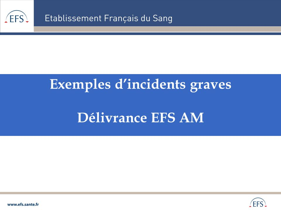 Exemples d'incidents graves Délivrance EFS AM