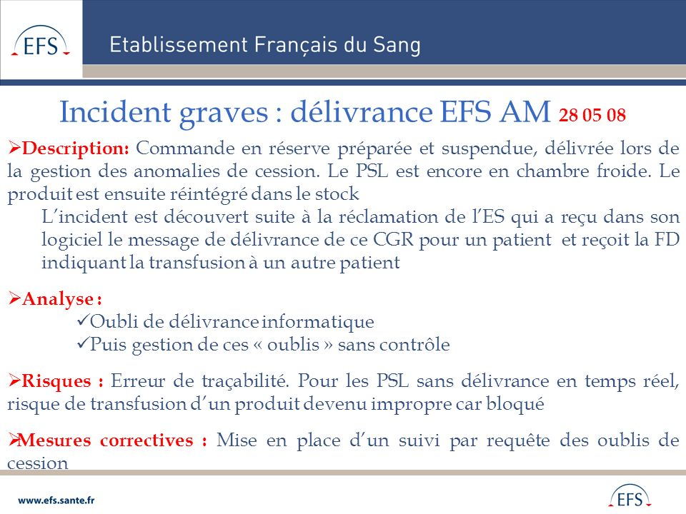 Incident graves : délivrance EFS AM 28 05 08