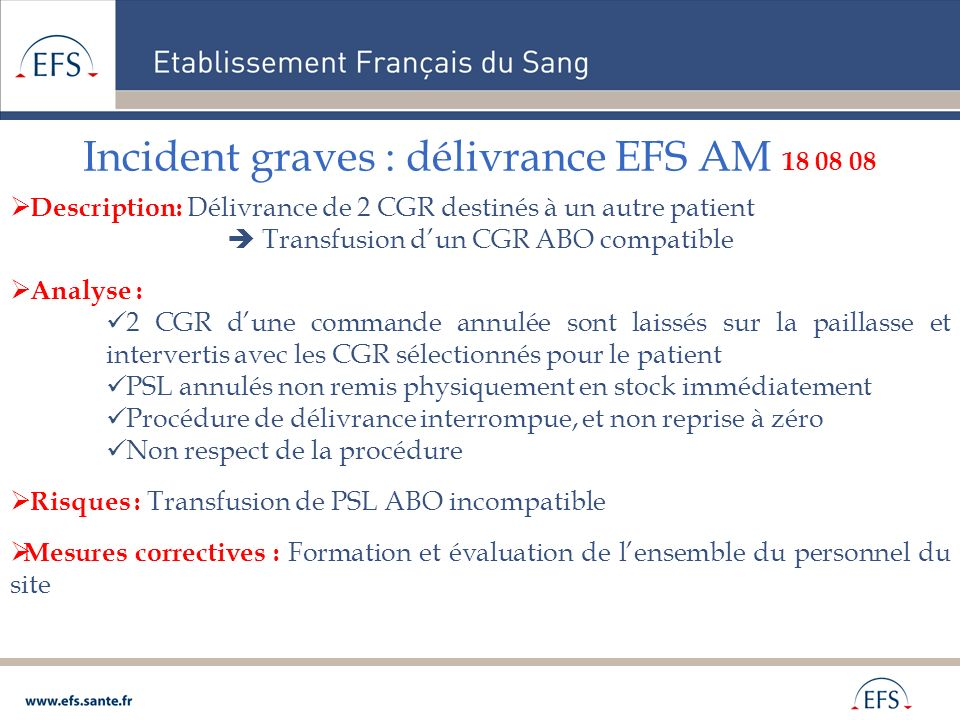 Incident graves : délivrance EFS AM 18 08 08