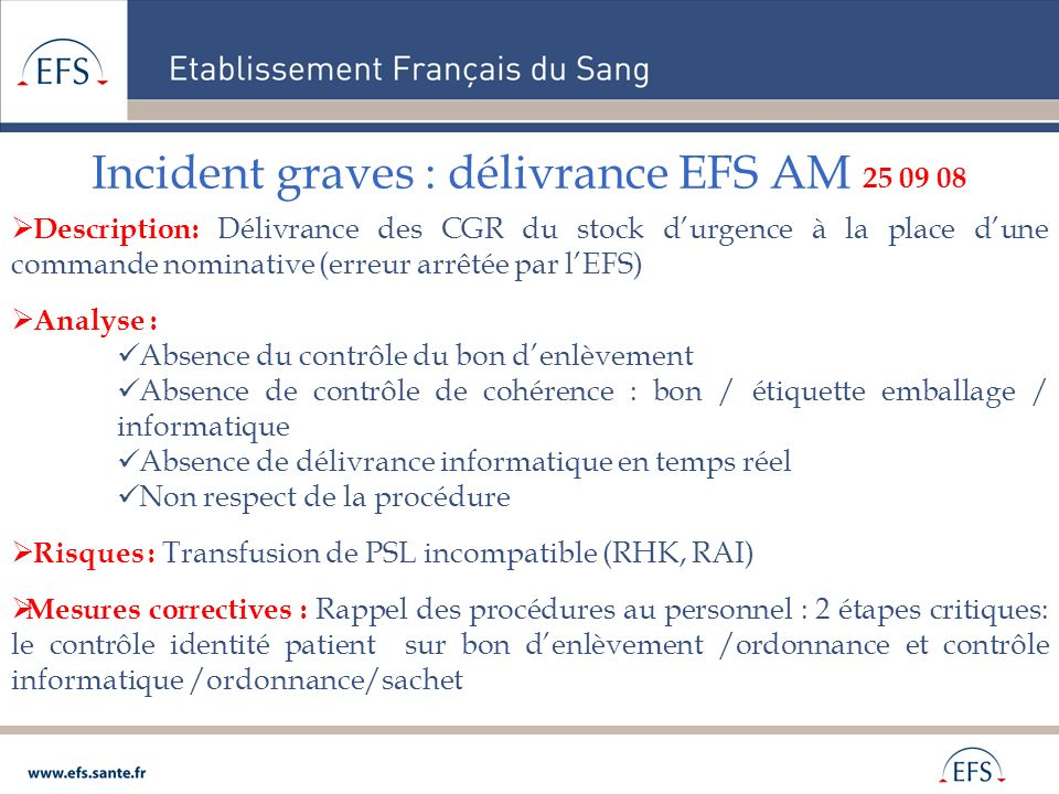 Incident graves : délivrance EFS AM 25 09 08