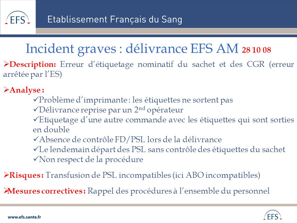 Incident graves : délivrance EFS AM 28 10 08