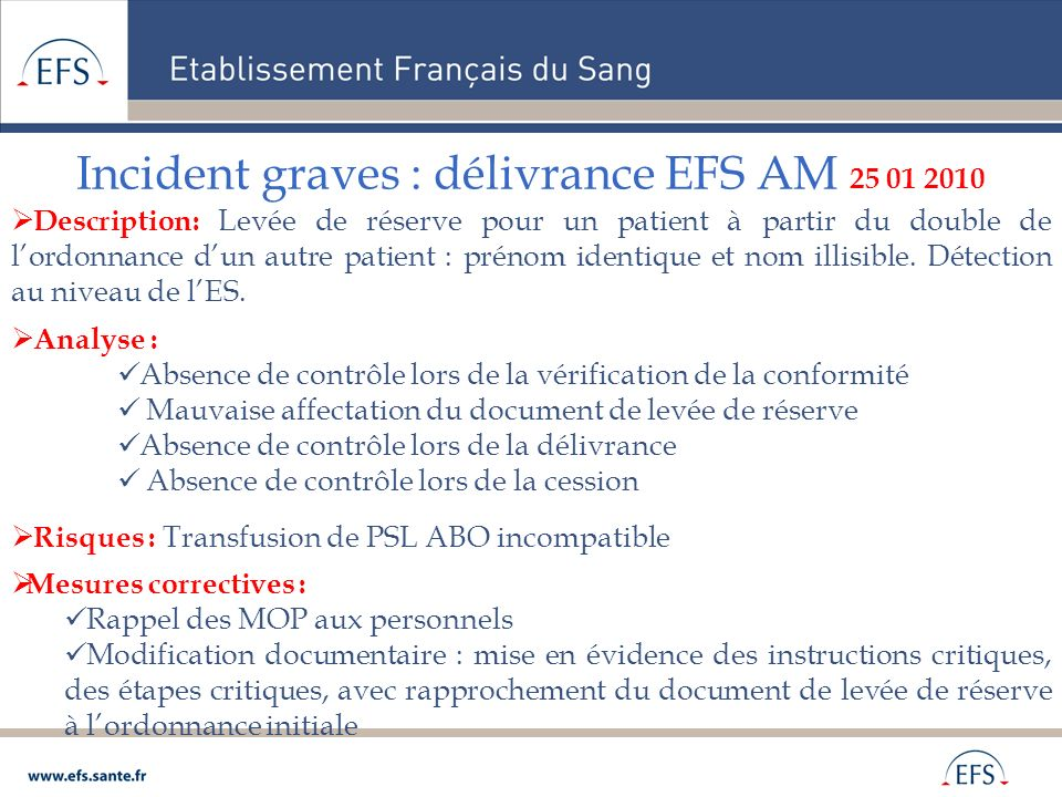 Incident graves : délivrance EFS AM 25 01 2010