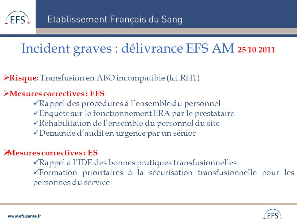 Incident graves : délivrance EFS AM 25 10 2011