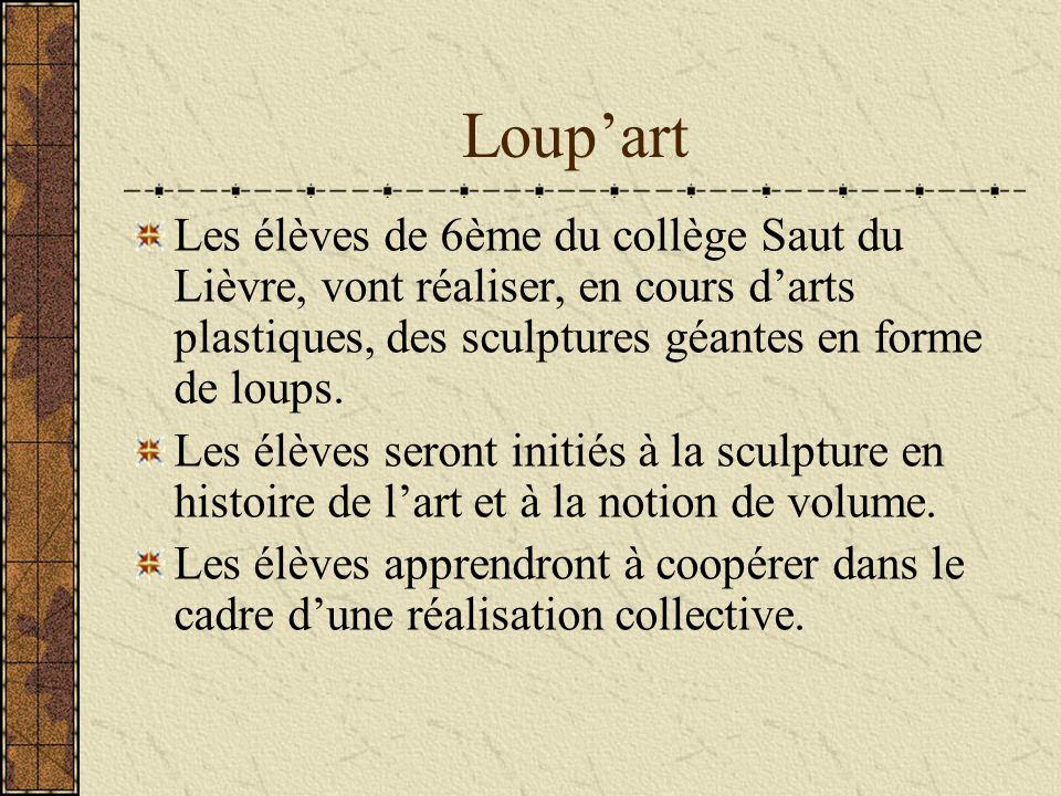 Loup'art Les élèves de 6ème du collège Saut du Lièvre, vont réaliser, en cours d'arts plastiques, des sculptures géantes en forme de loups.