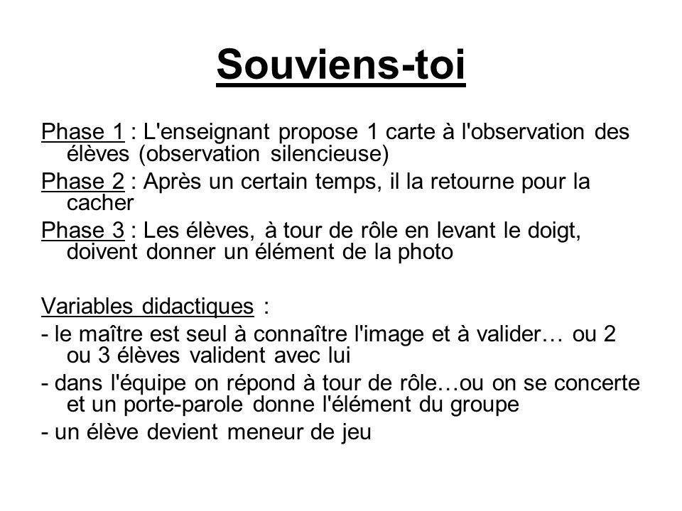 Souviens-toi Phase 1 : L enseignant propose 1 carte à l observation des élèves (observation silencieuse)