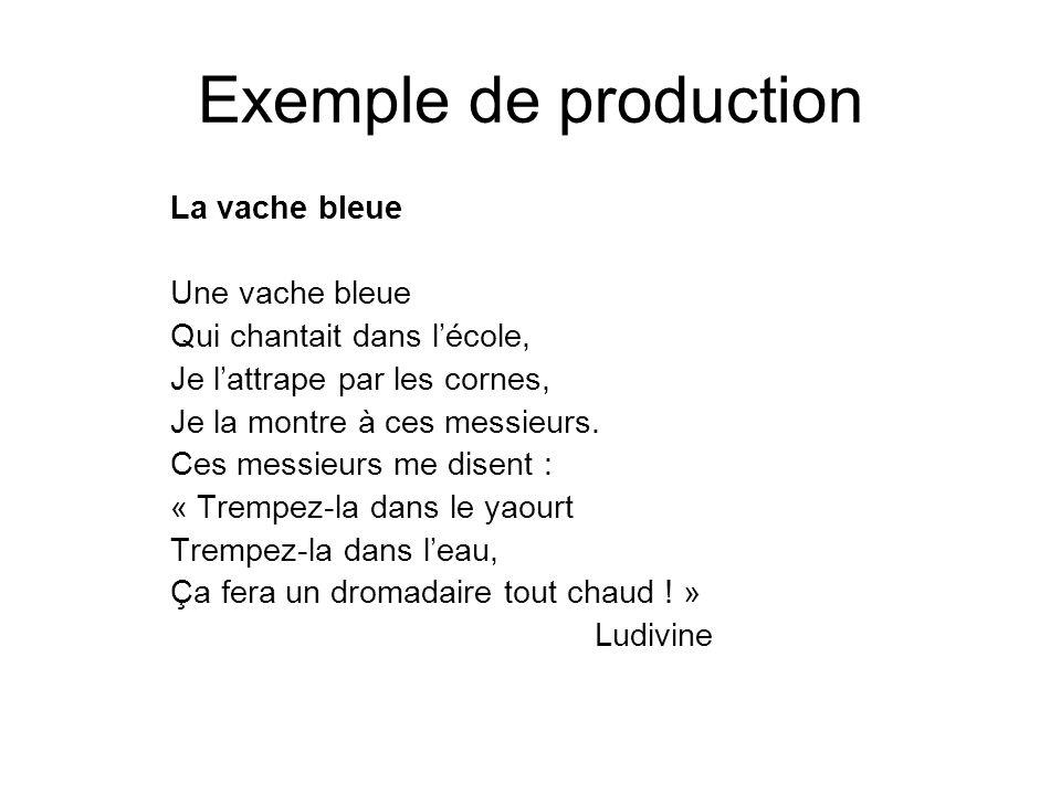 Exemple de production La vache bleue Une vache bleue