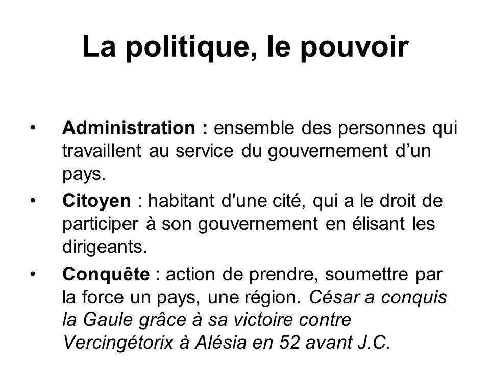 La politique, le pouvoir