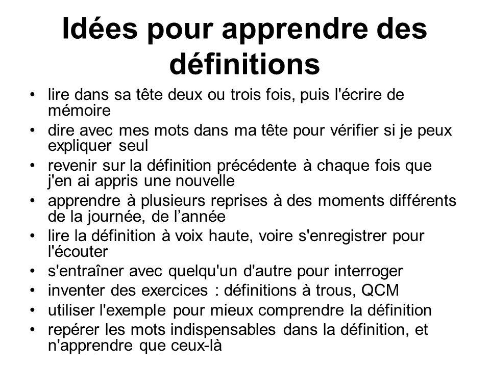 Idées pour apprendre des définitions