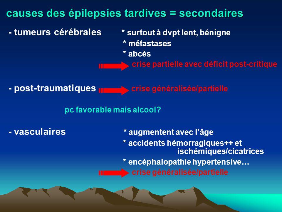 causes des épilepsies tardives = secondaires