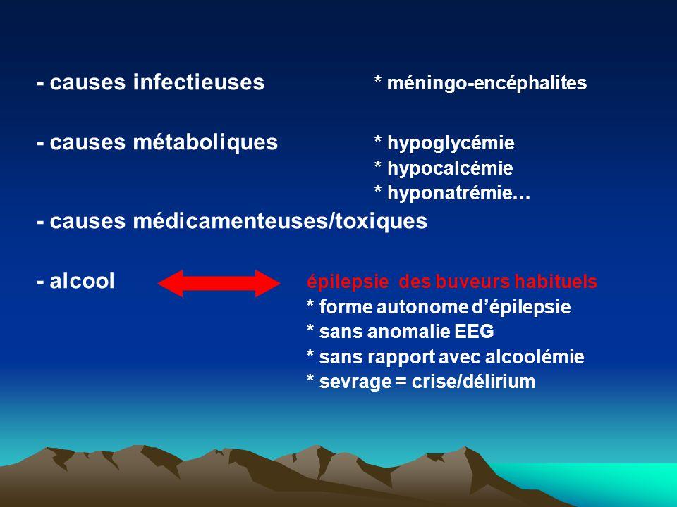 - causes infectieuses * méningo-encéphalites