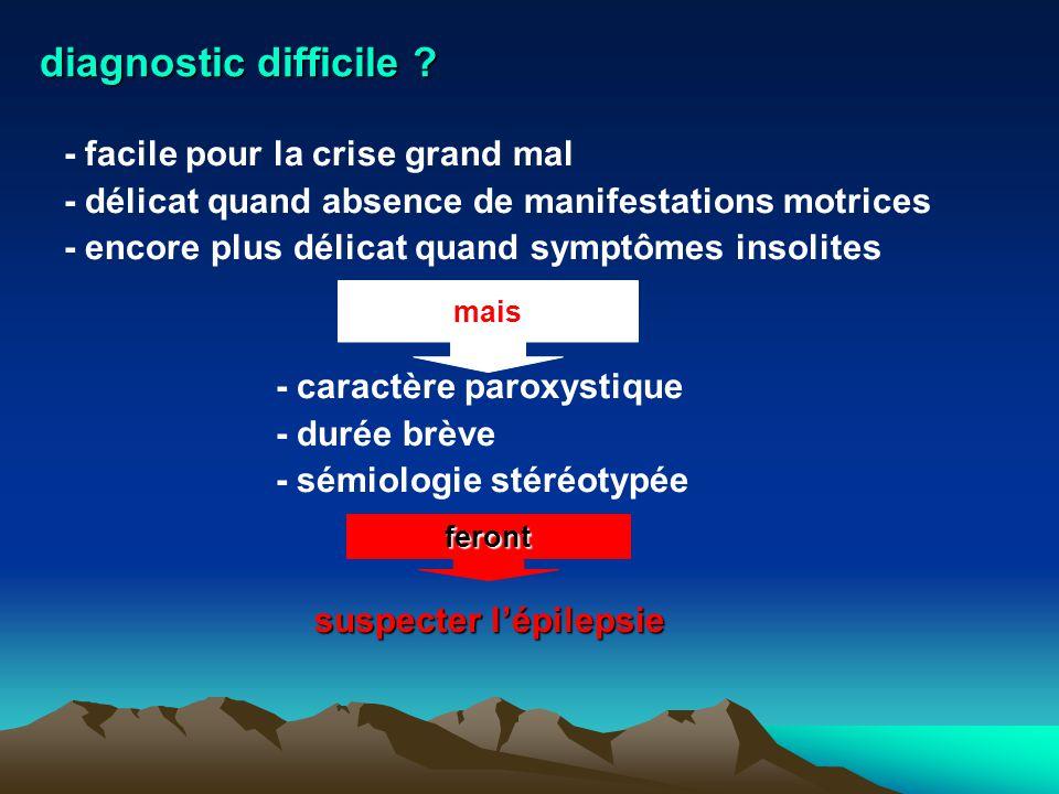 diagnostic difficile - facile pour la crise grand mal