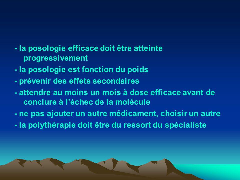 - la posologie efficace doit être atteinte progressivement